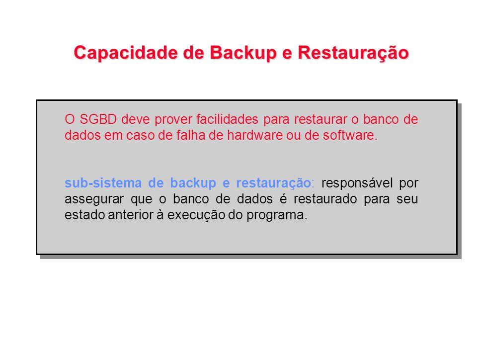 Capacidade de Backup e Restauração O SGBD deve prover facilidades para restaurar o banco de dados em caso de falha de hardware ou de software. sub-sis
