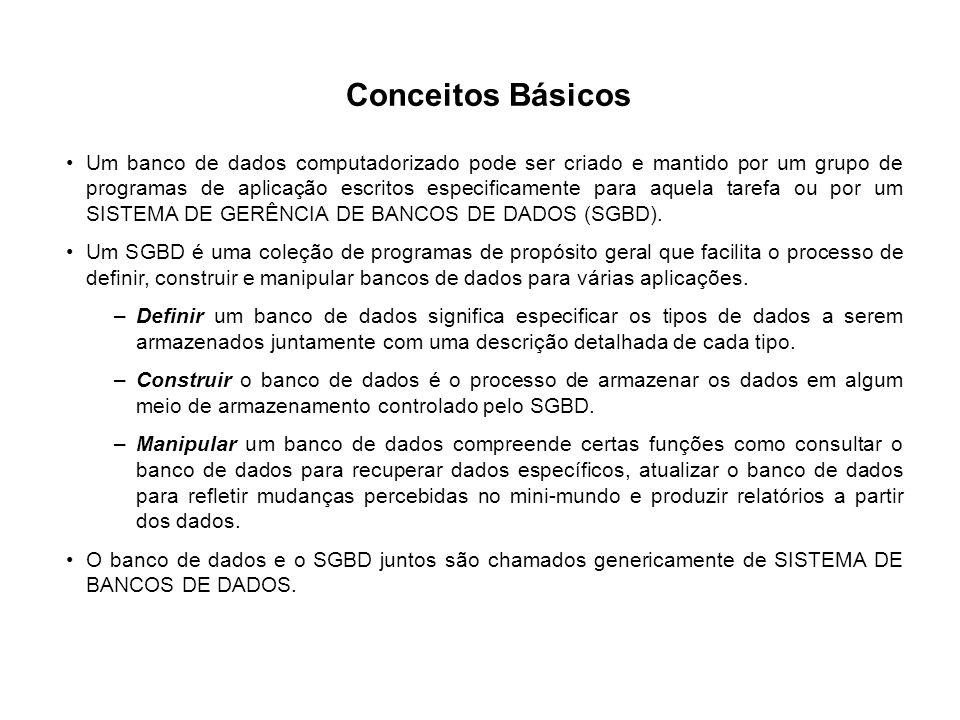 Conceitos Básicos Um banco de dados computadorizado pode ser criado e mantido por um grupo de programas de aplicação escritos especificamente para aqu