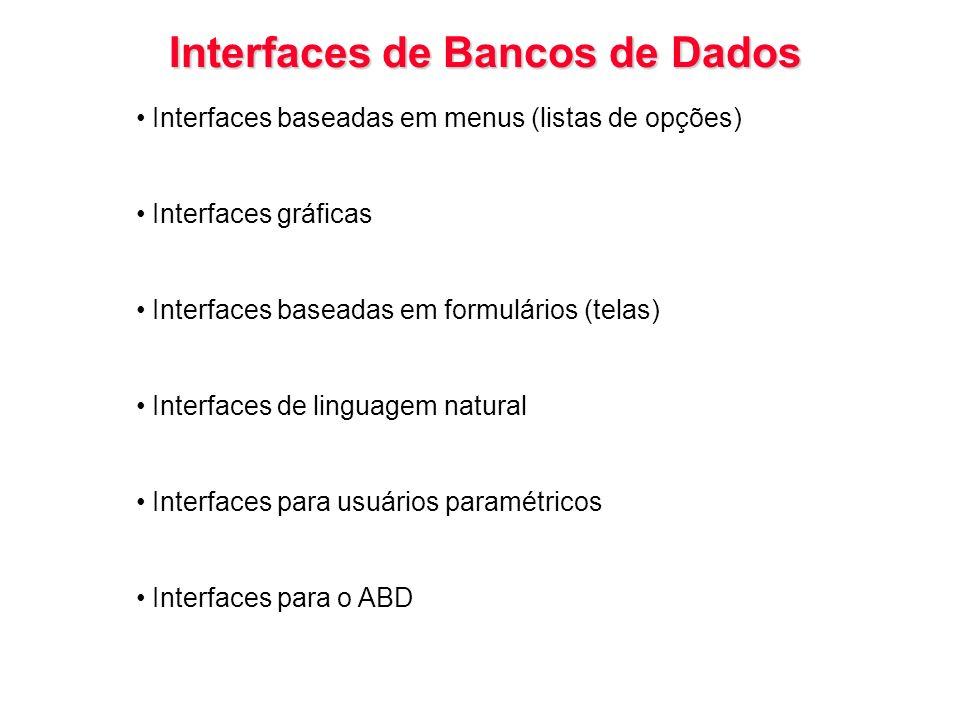 Interfaces de Bancos de Dados Interfaces baseadas em menus (listas de opções) Interfaces gráficas Interfaces baseadas em formulários (telas) Interface