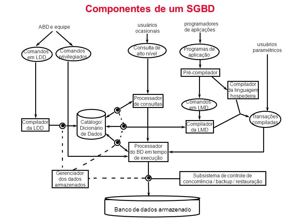 Componentes de um SGBD Comandos em LDD Comandos privilegiados Consulta de alto nível Programas de aplicação Comandos em LMD Transações compiladas Comp