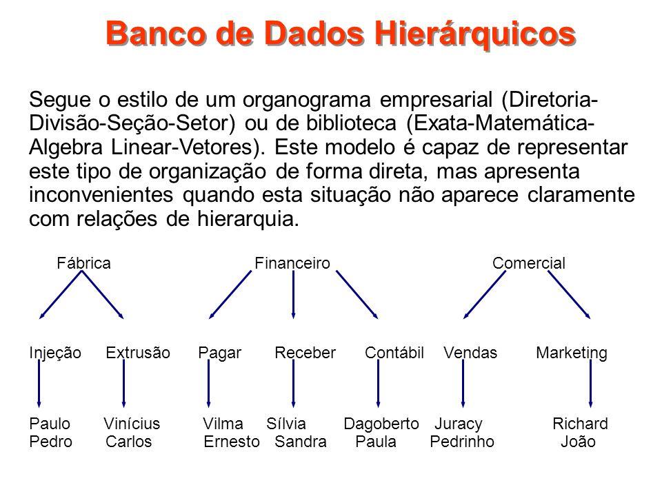 Banco de Dados Hierárquicos Segue o estilo de um organograma empresarial (Diretoria- Divisão-Seção-Setor) ou de biblioteca (Exata-Matemática- Algebra