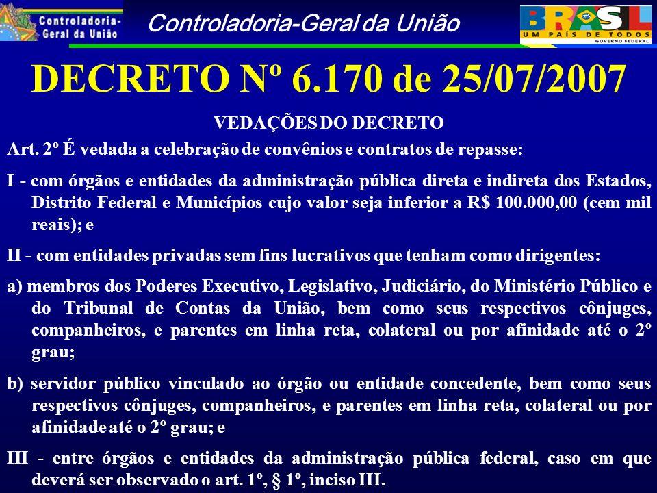 Controladoria-Geral da União DECRETO Nº 6.170 de 25/07/2007 VEDAÇÕES DO DECRETO Art.