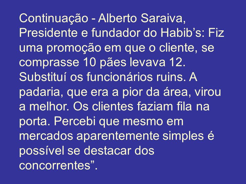 Continuação - Alberto Saraiva, Presidente e fundador do Habibs: Fiz uma promoção em que o cliente, se comprasse 10 pães levava 12. Substituí os funcio