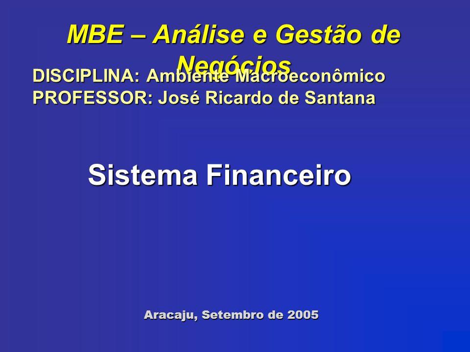 MBE – Análise e Gestão de Negócios Aracaju, Setembro de 2005 Sistema Financeiro DISCIPLINA: Ambiente Macroeconômico PROFESSOR: José Ricardo de Santana