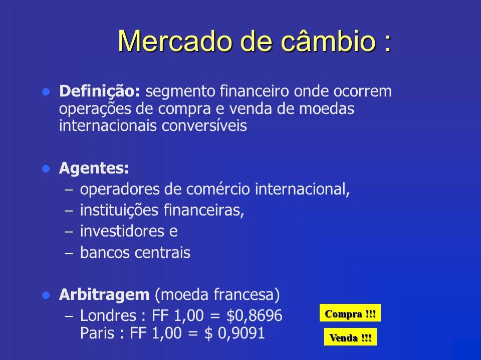 Mercado de câmbio : Definição: segmento financeiro onde ocorrem operações de compra e venda de moedas internacionais conversíveis Agentes: – operadore