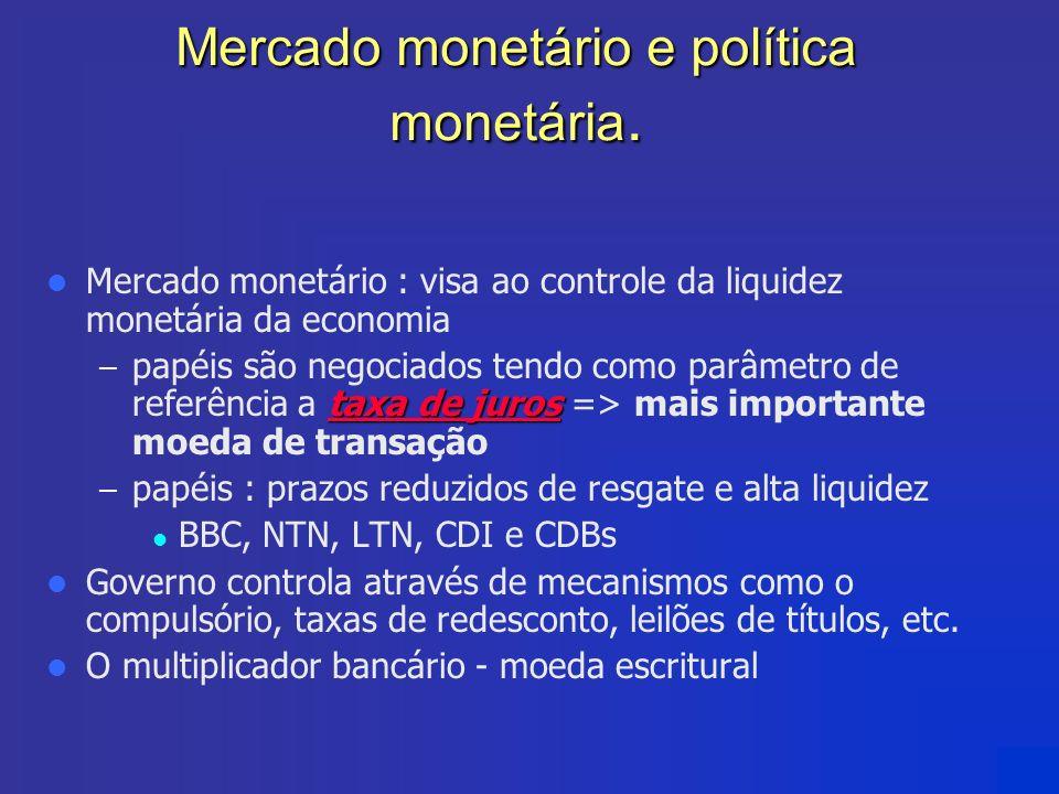 Mercado monetário e política monetária. Mercado monetário : visa ao controle da liquidez monetária da economia taxa de juros – papéis são negociados t