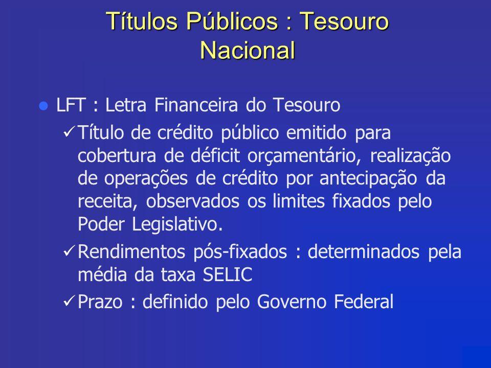 Títulos Públicos : Tesouro Nacional LFT : Letra Financeira do Tesouro Título de crédito público emitido para cobertura de déficit orçamentário, realiz