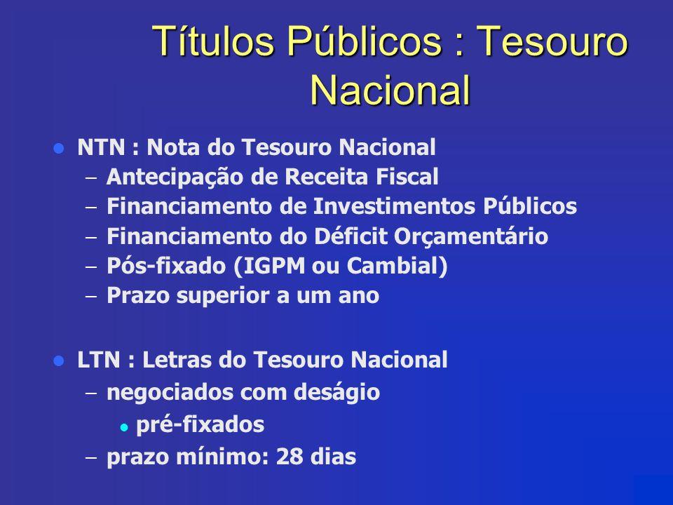 Títulos Públicos : Tesouro Nacional NTN : Nota do Tesouro Nacional – Antecipação de Receita Fiscal – Financiamento de Investimentos Públicos – Financi