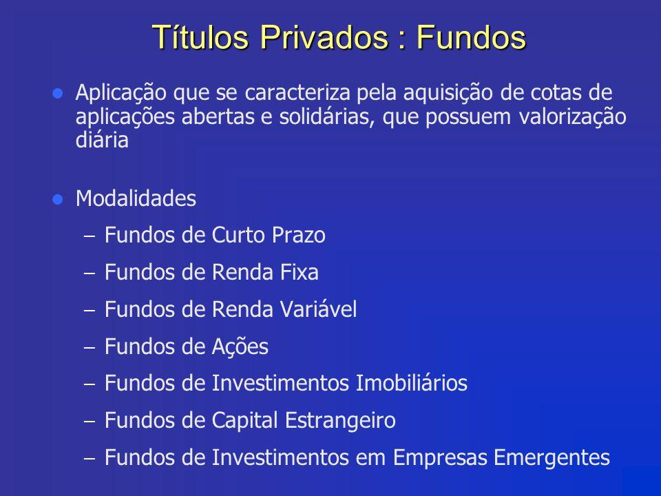 Títulos Privados : Fundos Aplicação que se caracteriza pela aquisição de cotas de aplicações abertas e solidárias, que possuem valorização diária Moda