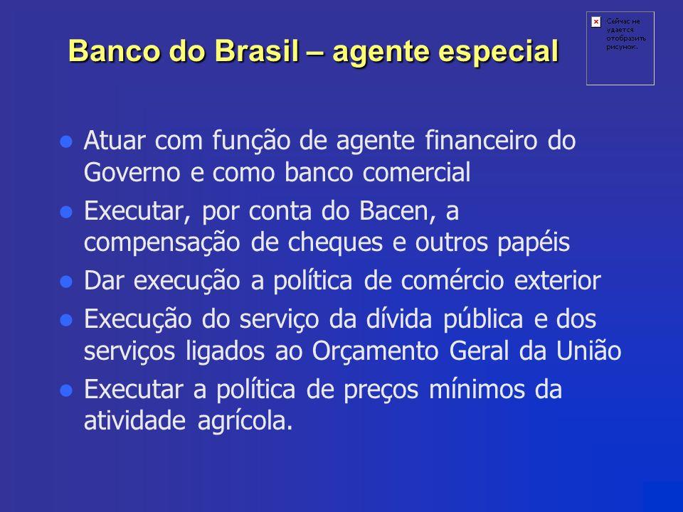 Banco do Brasil – agente especial Atuar com função de agente financeiro do Governo e como banco comercial Executar, por conta do Bacen, a compensação