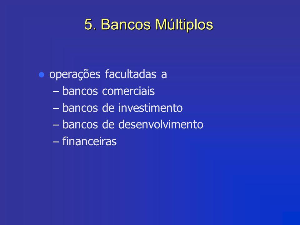 5. Bancos Múltiplos operações facultadas a – bancos comerciais – bancos de investimento – bancos de desenvolvimento – financeiras