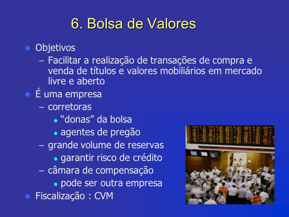 6. Bolsa de Valores Objetivos – Facilitar a realização de transações de compra e venda de títulos e valores mobiliários em mercado livre e aberto É um