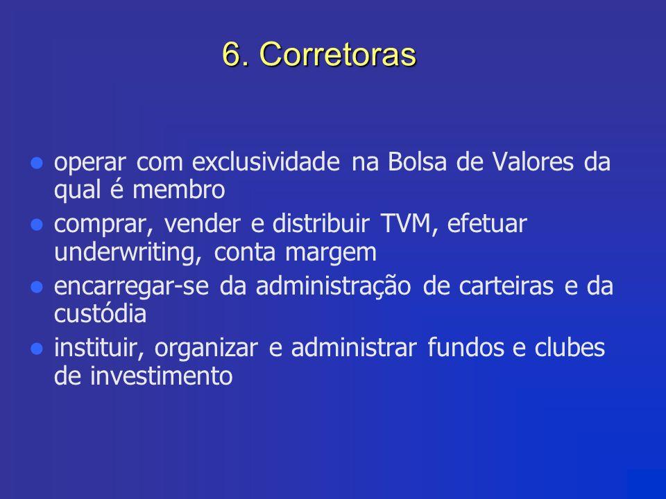 6. Corretoras operar com exclusividade na Bolsa de Valores da qual é membro comprar, vender e distribuir TVM, efetuar underwriting, conta margem encar