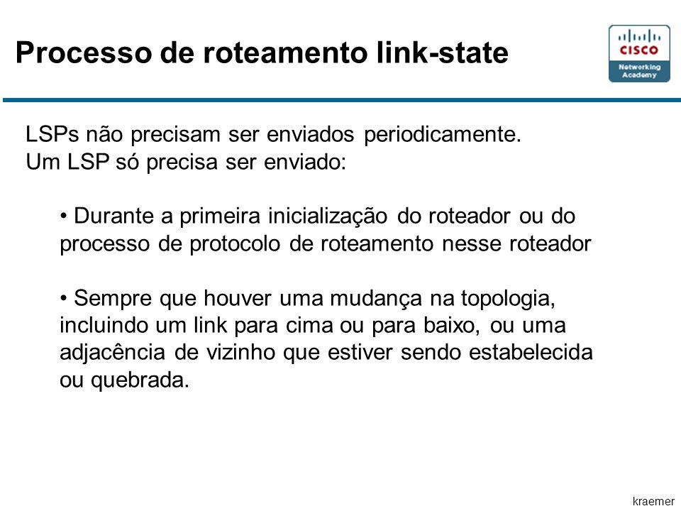 kraemer Processo de roteamento link-state LSPs não precisam ser enviados periodicamente. Um LSP só precisa ser enviado: Durante a primeira inicializaç