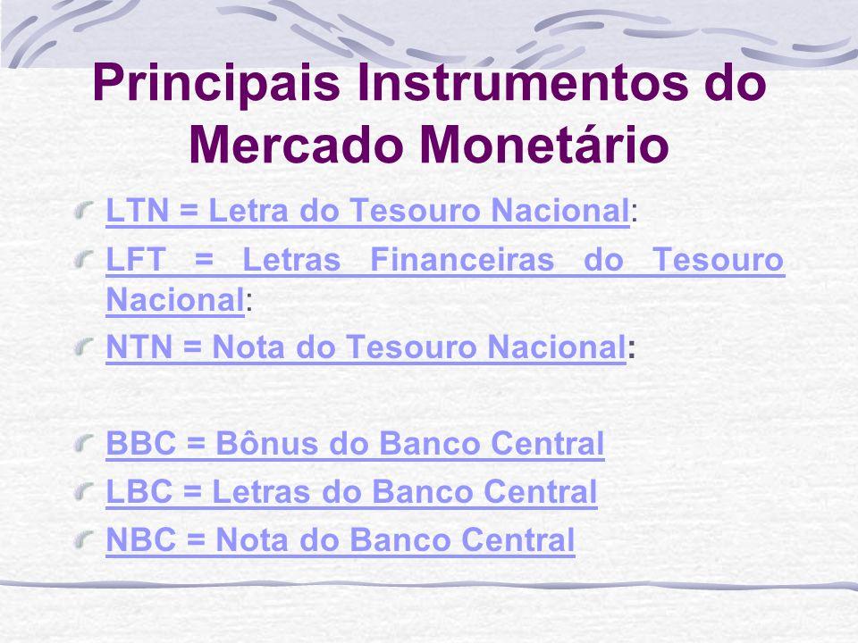 Principais Instrumentos do Mercado Monetário LTN = Letra do Tesouro NacionalLTN = Letra do Tesouro Nacional: LFT = Letras Financeiras do Tesouro NacionalLFT = Letras Financeiras do Tesouro Nacional: NTN = Nota do Tesouro NacionalNTN = Nota do Tesouro Nacional: BBC = Bônus do Banco Central LBC = Letras do Banco Central NBC = Nota do Banco Central