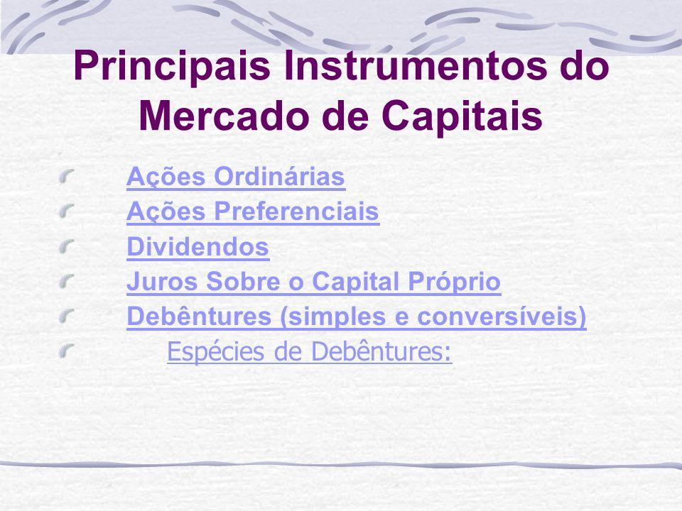 Principais Instrumentos do Mercado de Capitais Ações Ordinárias Ações Preferenciais Dividendos Juros Sobre o Capital Próprio Debêntures (simples e conversíveis) Espécies de Debêntures:Espécies de Debêntures: