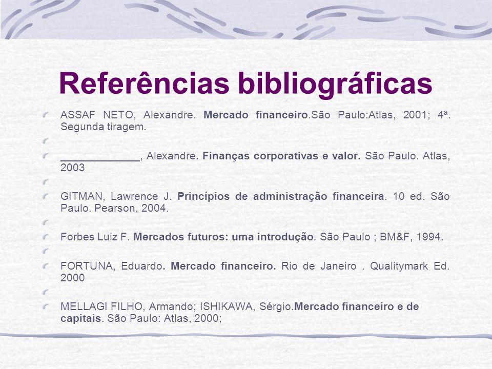 Referências bibliográficas ASSAF NETO, Alexandre.Mercado financeiro.São Paulo:Atlas, 2001; 4ª.