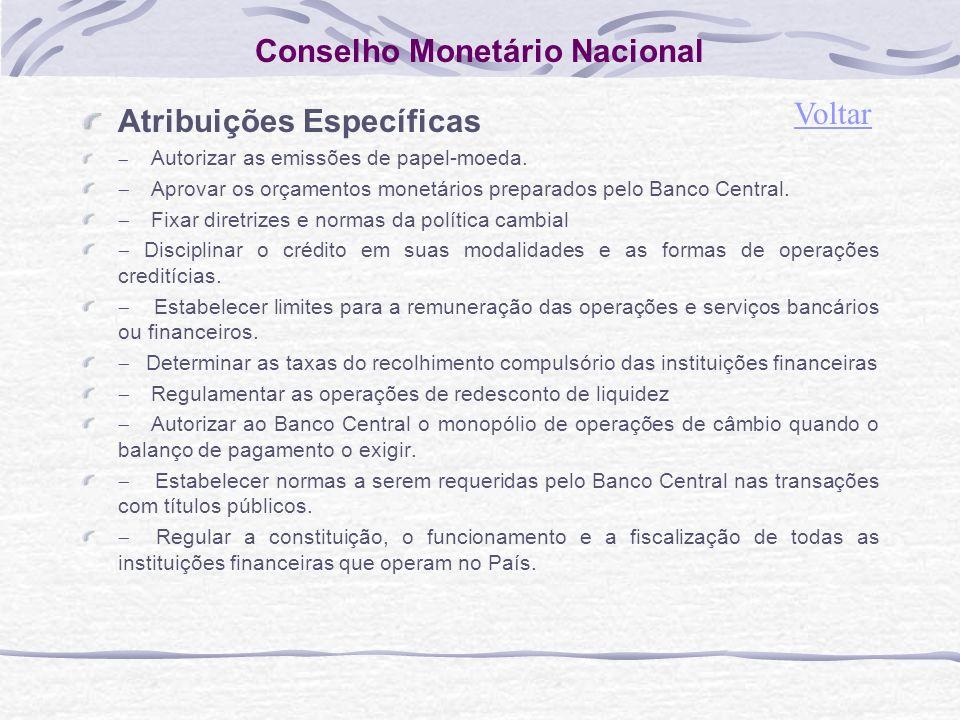 Conselho Monetário Nacional Atribuições Específicas Autorizar as emissões de papel-moeda.
