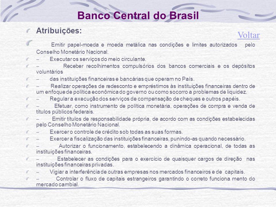 Banco Central do Brasil Atribuições: Emitir papel-moeda e moeda metálica nas condições e limites autorizados pelo Conselho Monetário Nacional.