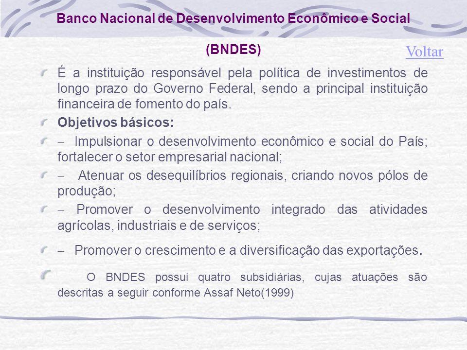 Banco Nacional de Desenvolvimento Econômico e Social (BNDES) É a instituição responsável pela política de investimentos de longo prazo do Governo Federal, sendo a principal instituição financeira de fomento do país.