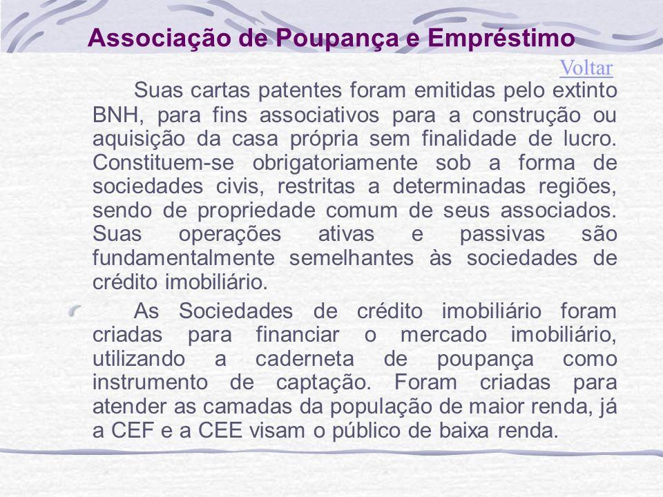 Associação de Poupança e Empréstimo Suas cartas patentes foram emitidas pelo extinto BNH, para fins associativos para a construção ou aquisição da casa própria sem finalidade de lucro.