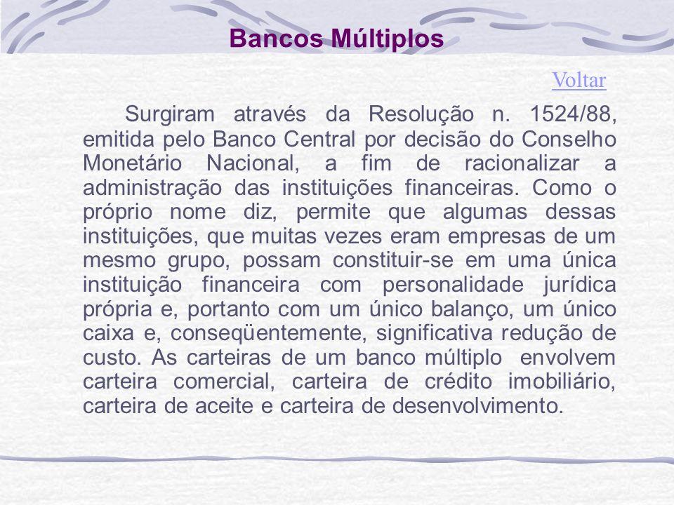 Bancos Múltiplos Surgiram através da Resolução n.