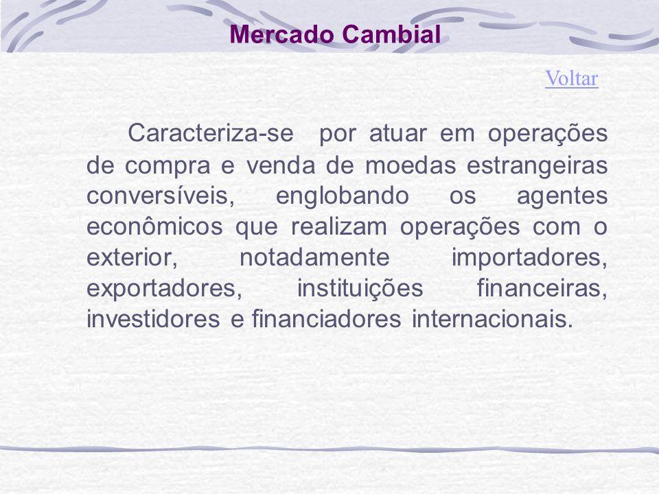 Mercado Cambial Caracteriza-se por atuar em operações de compra e venda de moedas estrangeiras conversíveis, englobando os agentes econômicos que realizam operações com o exterior, notadamente importadores, exportadores, instituições financeiras, investidores e financiadores internacionais.