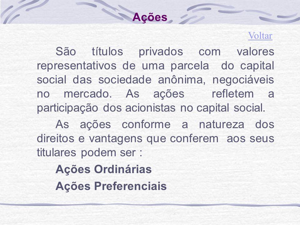 Ações São títulos privados com valores representativos de uma parcela do capital social das sociedade anônima, negociáveis no mercado.