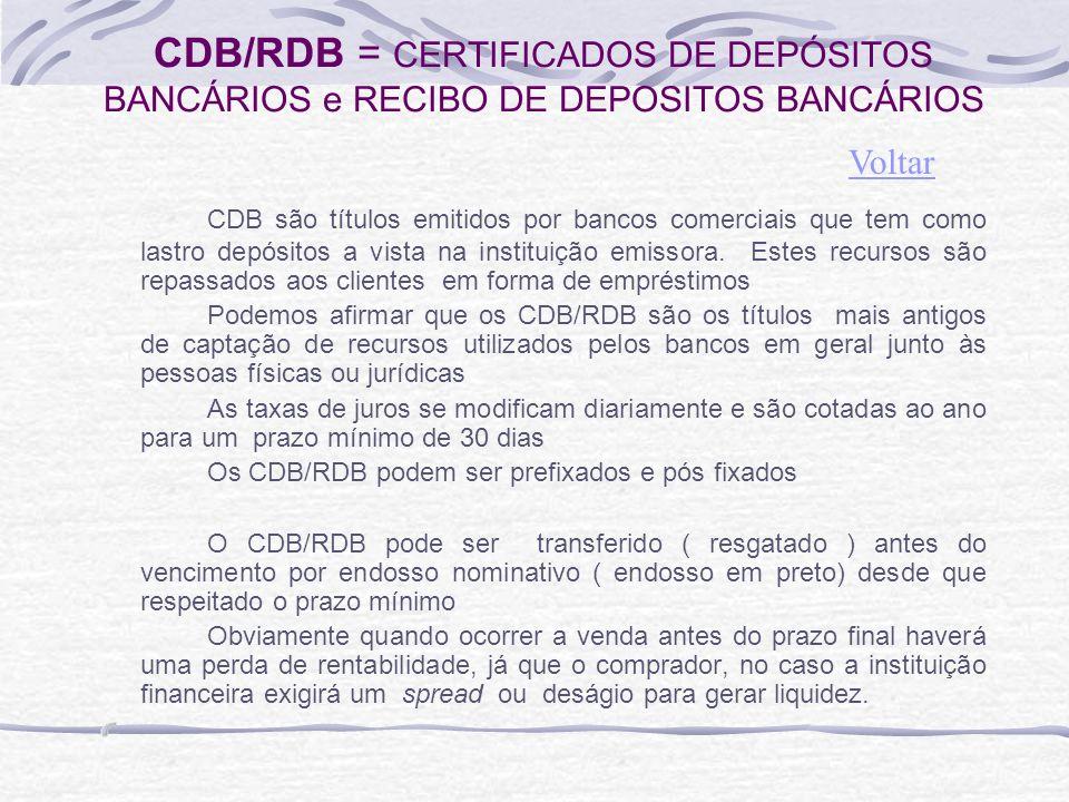 CDB/RDB = CERTIFICADOS DE DEPÓSITOS BANCÁRIOS e RECIBO DE DEPOSITOS BANCÁRIOS CDB são títulos emitidos por bancos comerciais que tem como lastro depósitos a vista na instituição emissora.