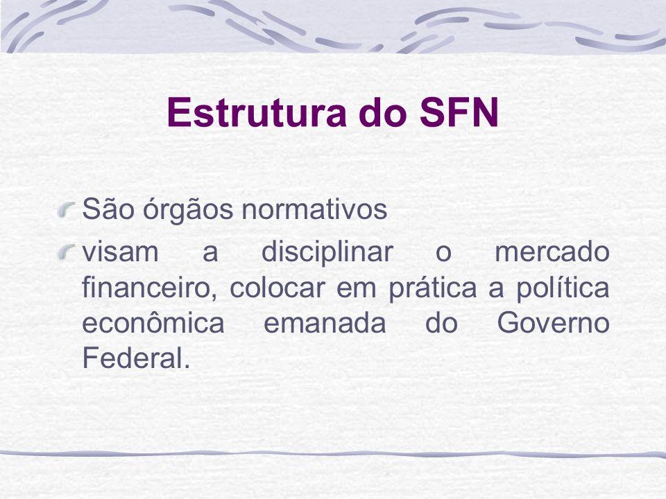 Estrutura do SFN São órgãos normativos visam a disciplinar o mercado financeiro, colocar em prática a política econômica emanada do Governo Federal.