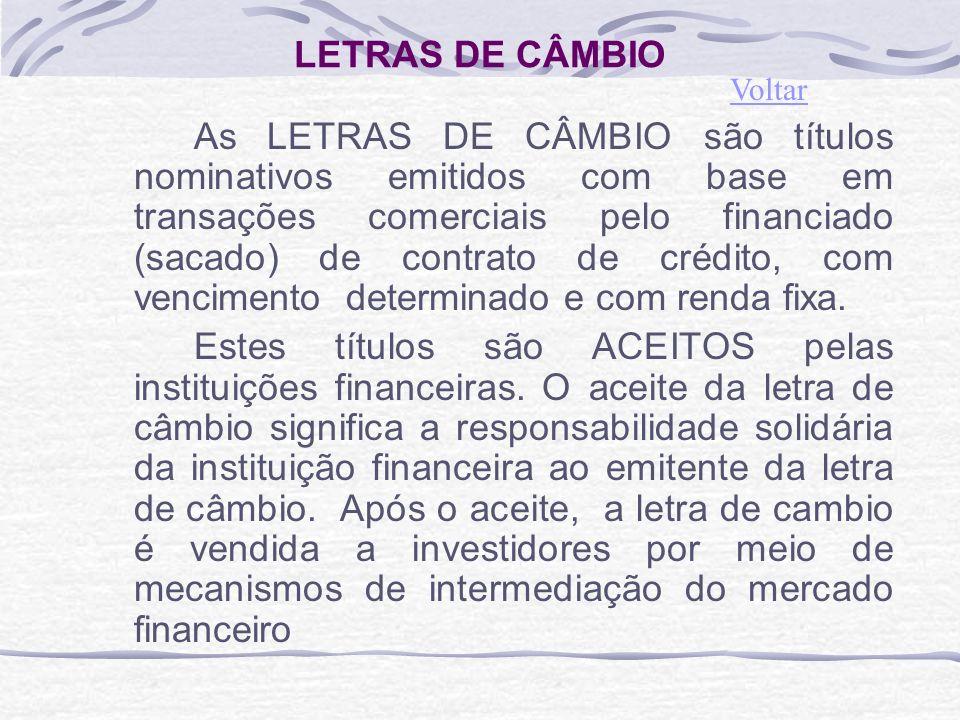 LETRAS DE CÂMBIO As LETRAS DE CÂMBIO são títulos nominativos emitidos com base em transações comerciais pelo financiado (sacado) de contrato de crédito, com vencimento determinado e com renda fixa.