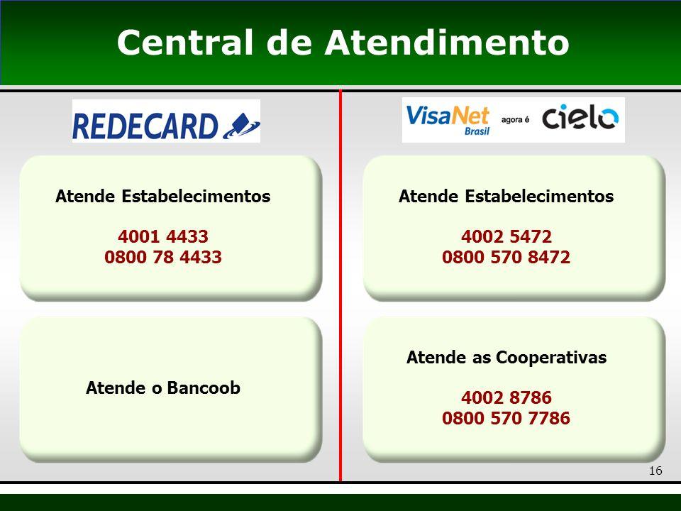 16 Central de Atendimento Atende Estabelecimentos 4001 4433 0800 78 4433 Atende o Bancoob Atende as Cooperativas 4002 8786 0800 570 7786 Atende Estabe