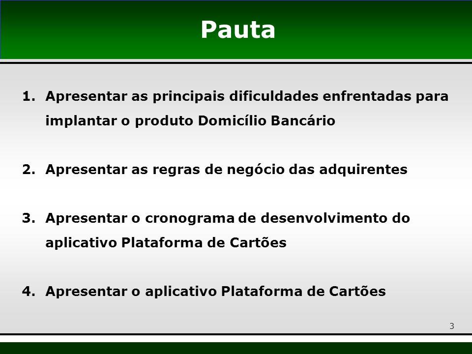 3 Pauta 1.Apresentar as principais dificuldades enfrentadas para implantar o produto Domicílio Bancário 2.Apresentar as regras de negócio das adquiren