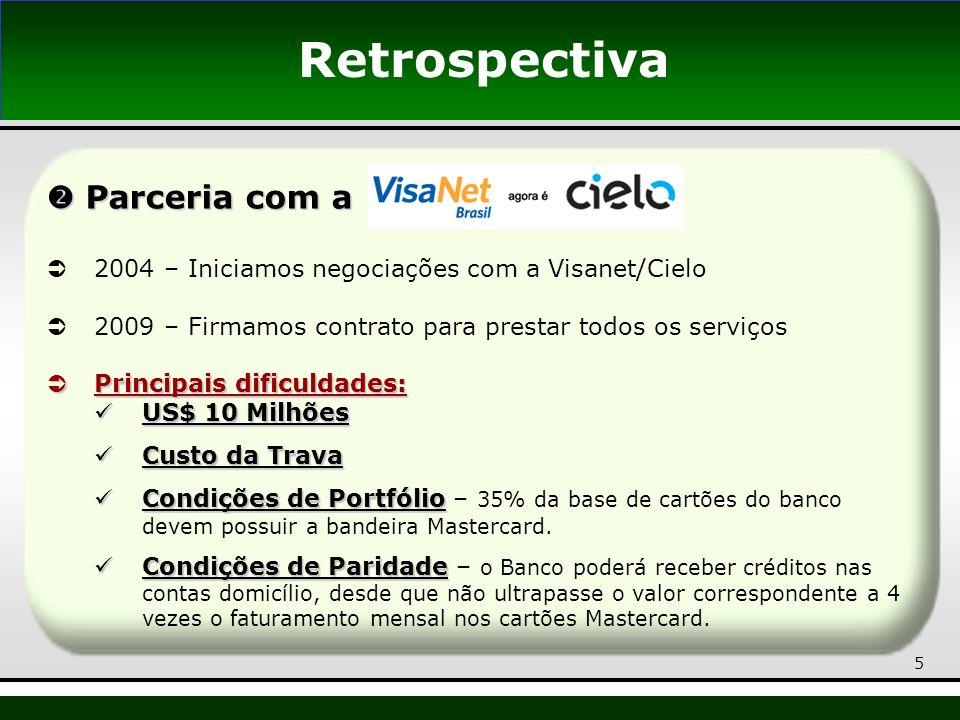 5 Parceria com a Parceria com a 2004 – Iniciamos negociações com a Visanet/Cielo 2009 – Firmamos contrato para prestar todos os serviços Principais di