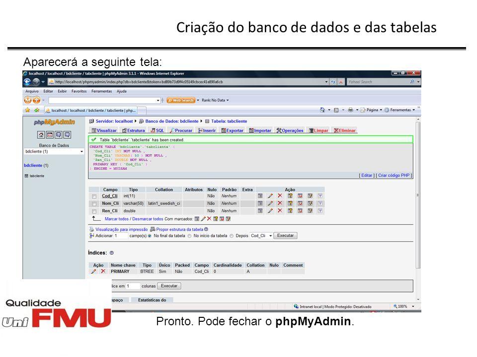 Digitação do Menu do sistema Criaremos um menu simples, tendo como finalidade evidenciar as operações no banco de dados.