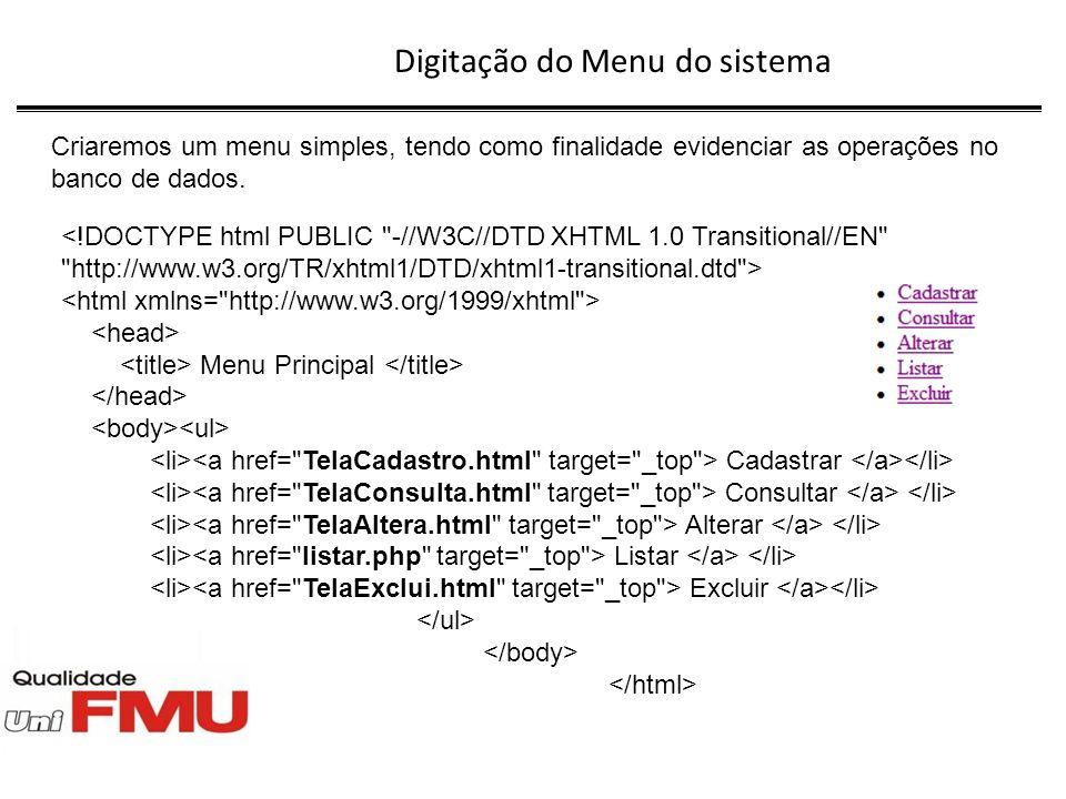 Digitação do arquivo TelaAltera.html Esse arquivo gera um formulário para a digitação do código do cliente a ser alterado.