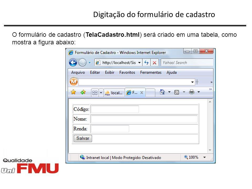 Digitação do formulário de cadastro Formulário de Cadastro Código: