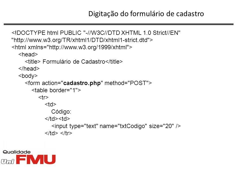 Digitação do arquivo consulta.php mysql_close($con); } ?> Voltar ao menu Tela resultante: Puff