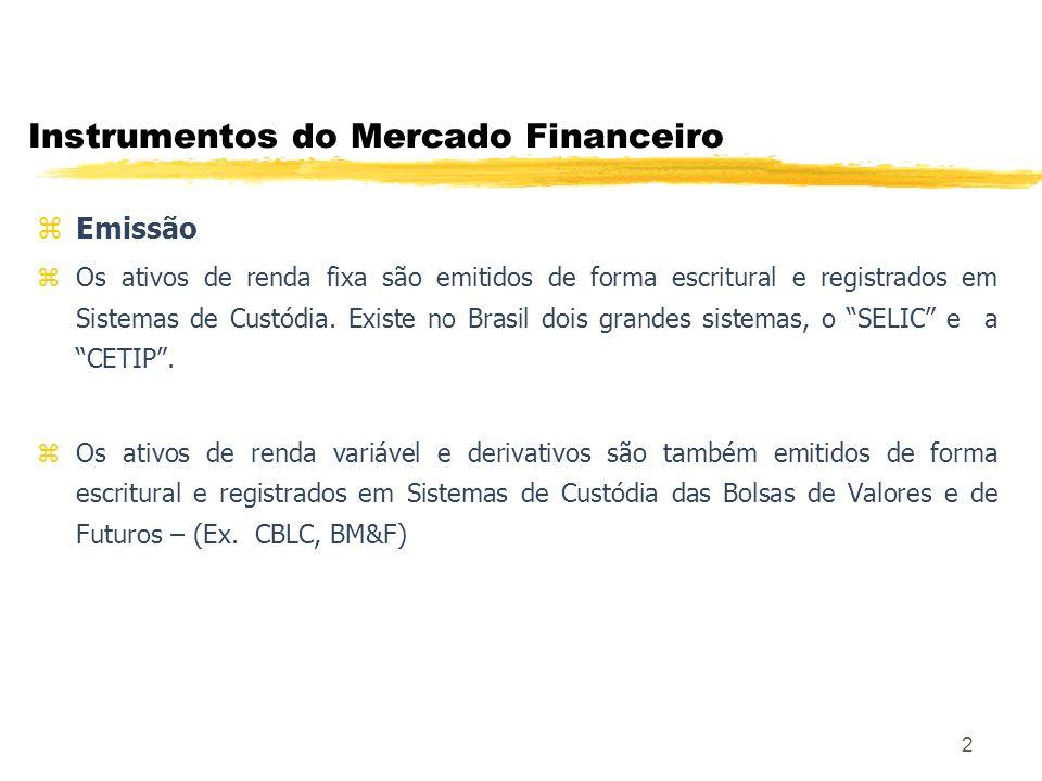 2 Instrumentos do Mercado Financeiro z Emissão z Os ativos de renda fixa são emitidos de forma escritural e registrados em Sistemas de Custódia.