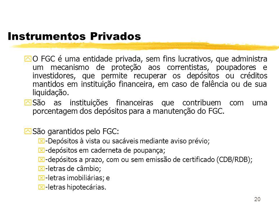 20 Instrumentos Privados yO FGC é uma entidade privada, sem fins lucrativos, que administra um mecanismo de proteção aos correntistas, poupadores e investidores, que permite recuperar os depósitos ou créditos mantidos em instituição financeira, em caso de falência ou de sua liquidação.