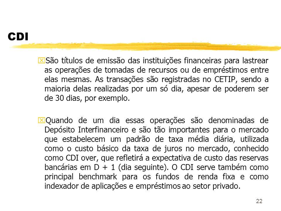 22 CDI xSão títulos de emissão das instituições financeiras para lastrear as operações de tomadas de recursos ou de empréstimos entre elas mesmas.