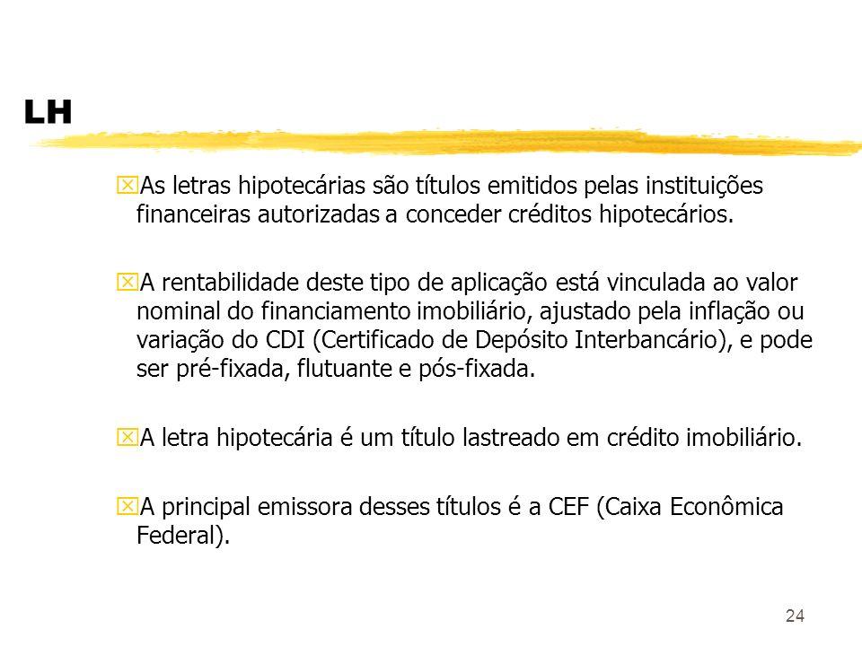 24 LH xAs letras hipotecárias são títulos emitidos pelas instituições financeiras autorizadas a conceder créditos hipotecários.