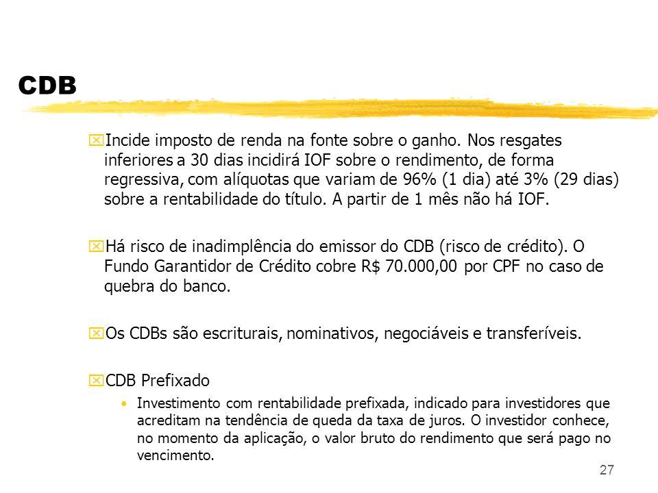 27 CDB xIncide imposto de renda na fonte sobre o ganho.