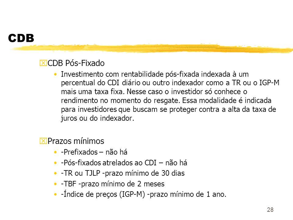 28 CDB xCDB Pós-Fixado Investimento com rentabilidade pós-fixada indexada à um percentual do CDI diário ou outro indexador como a TR ou o IGP-M mais uma taxa fixa.
