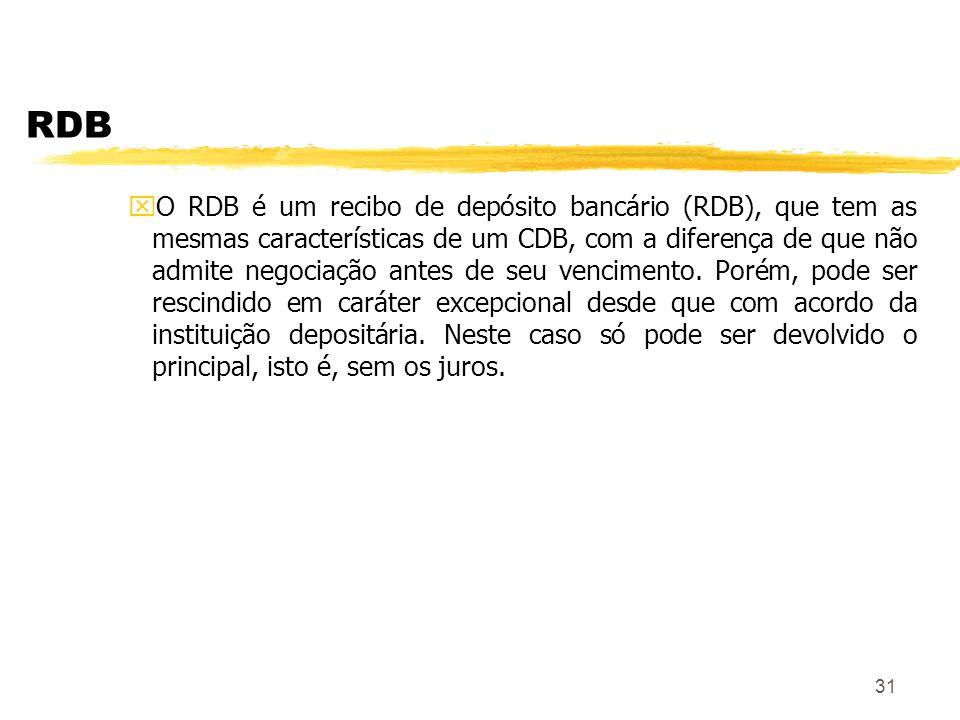 31 RDB xO RDB é um recibo de depósito bancário (RDB), que tem as mesmas características de um CDB, com a diferença de que não admite negociação antes de seu vencimento.
