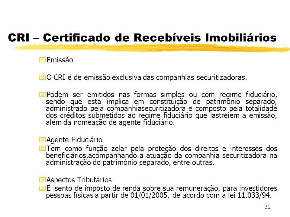 32 CRI – Certificado de Recebíveis Imobiliários xEmissão xO CRI é de emissão exclusiva das companhias securitizadoras.