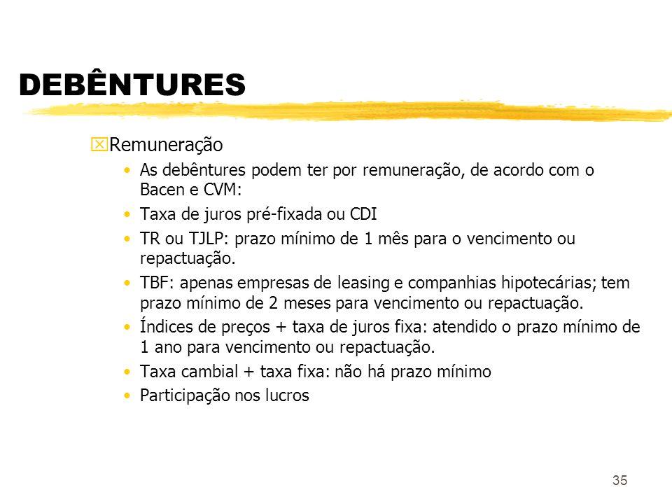 35 DEBÊNTURES xRemuneração As debêntures podem ter por remuneração, de acordo com o Bacen e CVM: Taxa de juros pré-fixada ou CDI TR ou TJLP: prazo mínimo de 1 mês para o vencimento ou repactuação.