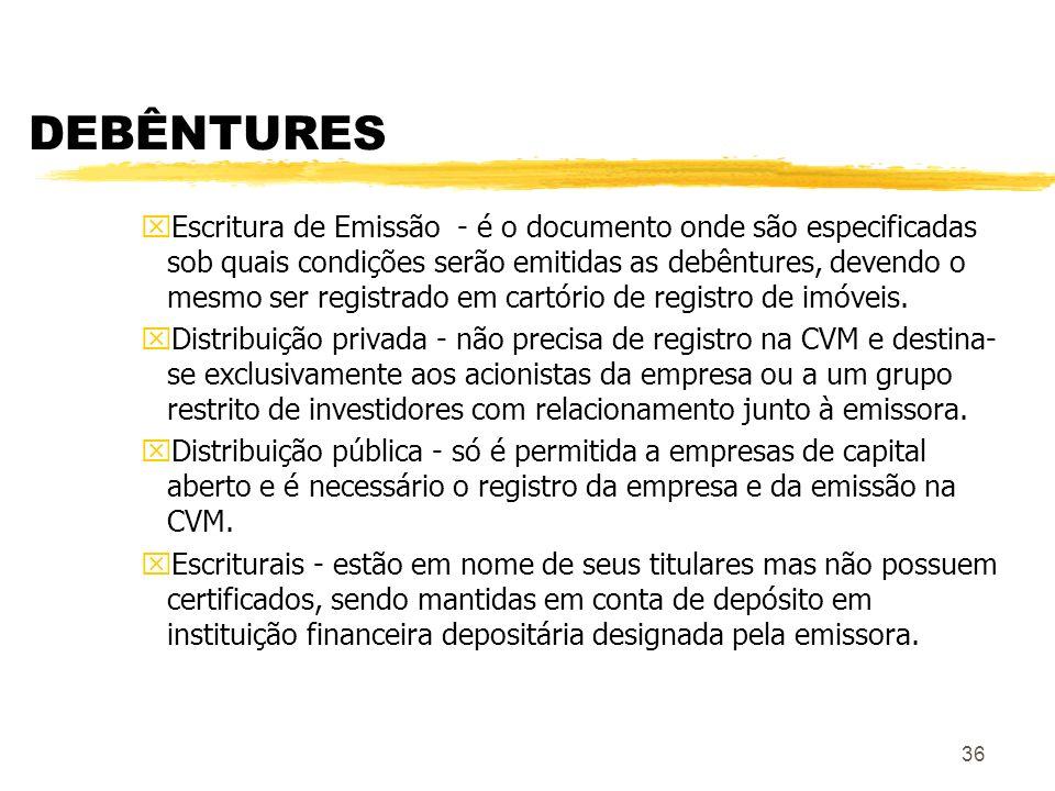 36 DEBÊNTURES xEscritura de Emissão - é o documento onde são especificadas sob quais condições serão emitidas as debêntures, devendo o mesmo ser registrado em cartório de registro de imóveis.