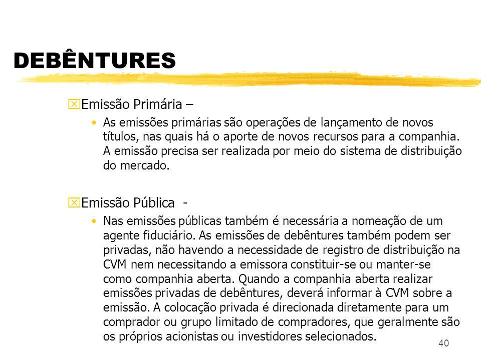 40 DEBÊNTURES xEmissão Primária – As emissões primárias são operações de lançamento de novos títulos, nas quais há o aporte de novos recursos para a companhia.