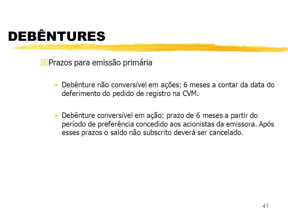41 DEBÊNTURES xPrazos para emissão primária Debênture não conversível em ações: 6 meses a contar da data do deferimento do pedido de registro na CVM.